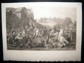 After F. Goodall 1854 Steel Engraving. Raising the May-Pole